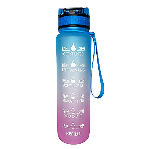 OKIE 32oz Leakproof BPA-Free Drinking Motivational Water Bottle with Time Marker: Motivational to Ensure You Drink Enough Water - Fitness, Outdoors, Sports