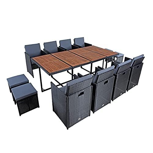 ESTEXO Polyrattan Sitzgruppe Gartenmöbel Set Essgruppe Gartenset Rattanmöbel Rattan Set Hocker Gartenstühle Gartentisch (12 Personen/Schwarz)
