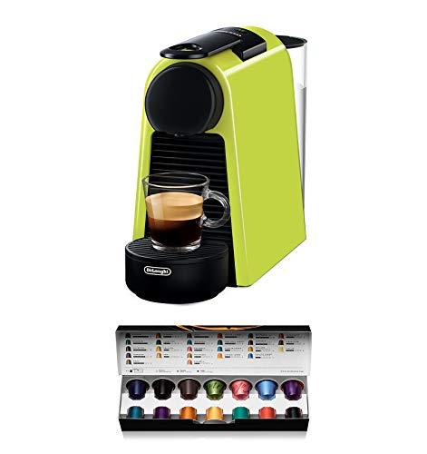De'Longhi Nespresso Essenza Mini EN 85.L Kaffeekapselmaschine, Welcome Set mit Kapseln in unterschiedlichen Geschmacksrichtungen, 19 bar Pumpendruck, Platzsparend, Lime