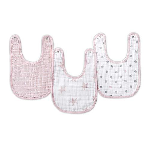 aden + anais essentials - Pack de 3 bavoirs à boutons-pression pour bébé prélavés en mousseline 100% coton - Bavoir très absorbant - Facile à ajuster - Fille - Imprimé Doll - 23 cm x 34 cm