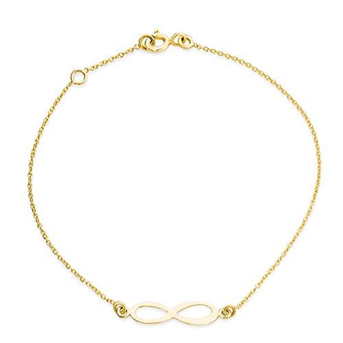 Miore Armband - Armreif Damen Gelbgold 9 Karat / 375 Gold Kette mit Unendlichkeit - Infinity Zeichen 18 cm