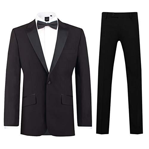 Dobell Herren Schwarzer Smoking-Anzug zweiteilig Steigendes Revers Slim-fit (50 Jackett mit 50 Hosen)