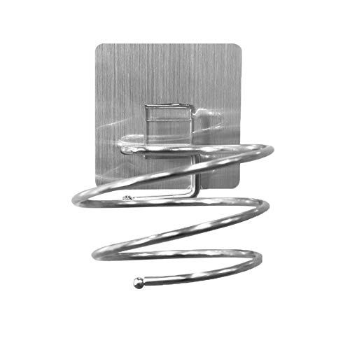 YISUYA Soporte para secador de pelo en espiral, de acero inoxidable, para el baño, con soporte para cables, fijación sin agujeros, accesorios de baño, 11,8 x 9 x 7,5 cm