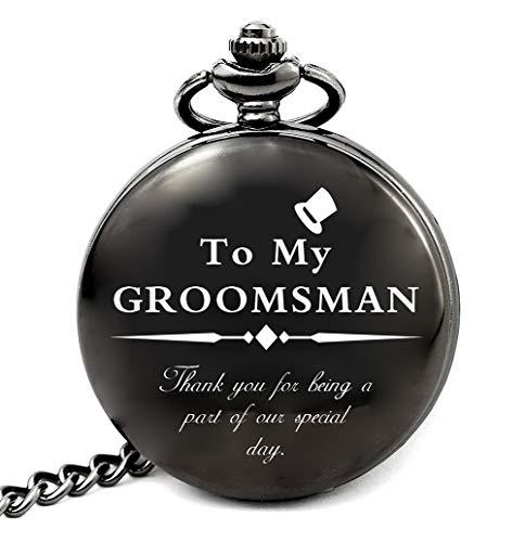 LEVONTA Groomsmen Gifts for Wedding, Best Man Gifts for Wedding Funny, Personalized Groomsman Pocket Watch (Groomsman Gifts)