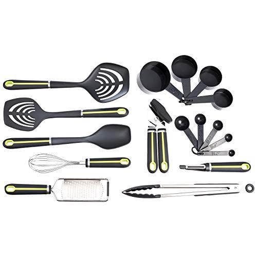 Amazon Basics - Set de 17 utensilios de cocina con mango suave, de color verde y gris