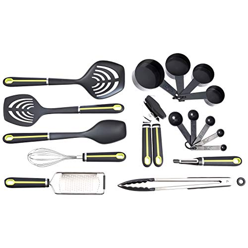 Amazon Basics 17-Piece Tools and Gadget Set, Soft Grip Handle, Grey and Green