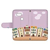 スマQ Pixel 3 3 国内生産 カード スマホケース 手帳型 Google グーグル ピクセル スリー 【E.パープル】 町並み イラスト ami_vd-0252