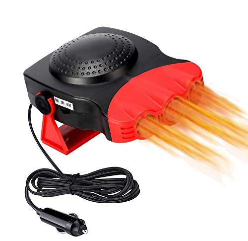 Electronic Heater,Car Heater, car Funs 2 in 1 Portable Fast Heating Car Heater with Heating & Cooling Function Defroster Defogger 12V 150W, Adjustable Thermostat in Cigarette Lighter(Red)