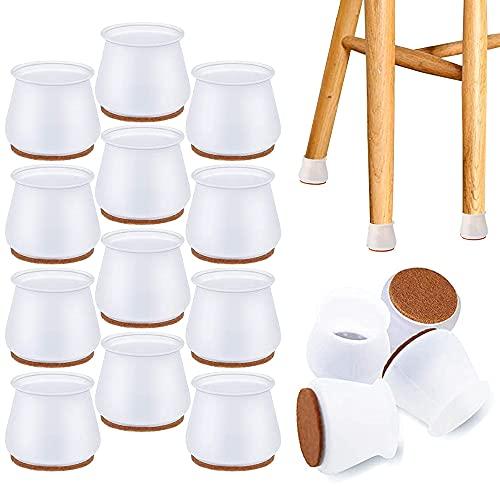 NETUME Tapas protectoras para patas de silla, 16 protectores de silicona para patas de muebles con almohadillas de fieltro, almohadillas antideslizantes para muebles para mesa, silla, sofá, patas