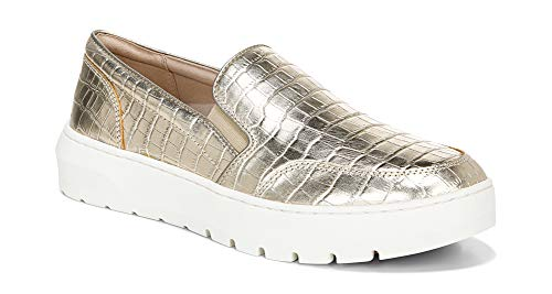 Vionic Women's Abyss Dinora Supportive Platform Slip-on Sneaker- Leather Shoes That Include Three-Zone Comfort with Orthotic Insole Arch Support, Sneakers for Women Gold Croc 7.5 Medium US
