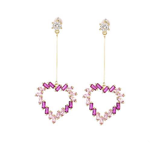 Pendientes de borla de amor de aguja de plata esterlina s925 en forma de corazón pequeños pendientes de corazón de niña fresca joyería