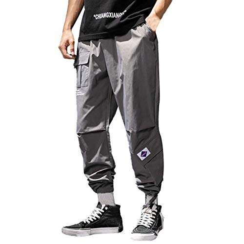 Xmiral Hose Herren Elastische Taillen Mode Freizeit Bleistift Hosen Haremshose Für Sport Joggen Training Hosen Sommer Sweathose (Dunkelgrau,XL)