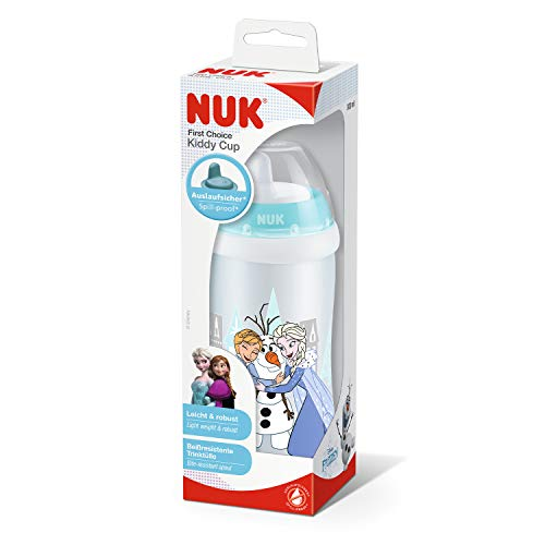 NUK Disney Frozen Kiddy Cup, Tazza con Beccuccio Rigido a Prova di Perdite senza BPA per Bambini dai 12 Mesi, 300 ml, Elsa & Anna