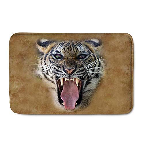 N\A Alfombra de Puerta Animal Tigered Roaring Mgaic Eyes Tela Terciopelo Alfombra Antideslizante para baño Cocina Decoración del hogar