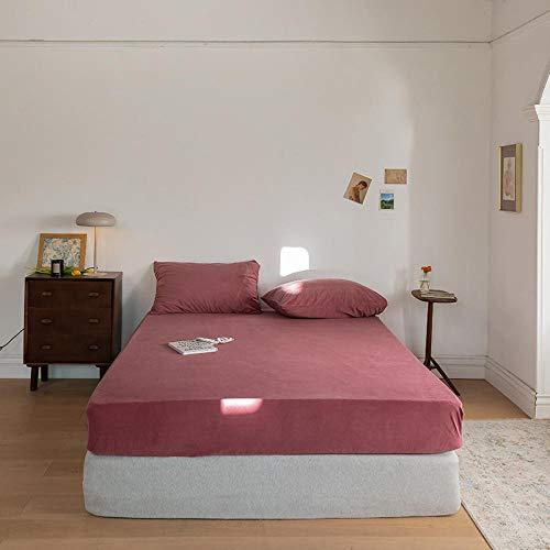 Nuoxuan Premium Sábana Bajera,Sábana Gruesa de Terciopelo de Color sólido,Funda de Invierno Adecuada para colchón Individual Doble tamaño King-Rojo_El 180 * 200cm