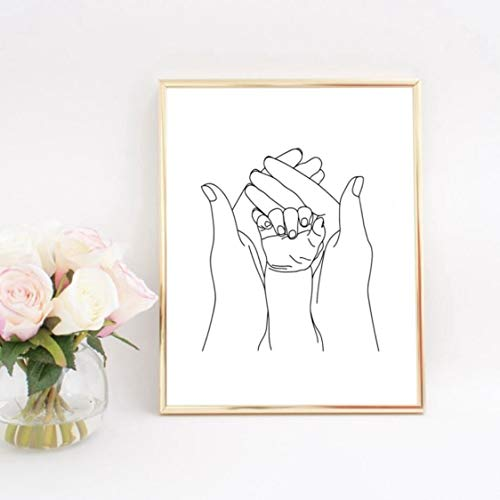 Danjiao Baby Mother Hands Nursery Line Art Print Black White Picture Love Wall Art Canvas Painting Nordic Poster Decor Baby Shower Gift Camera Da Letto 60x90cm