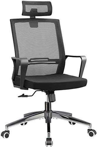 Office Chair High Back Desk Chair for Computer, Black Mesh Back Adjustable Height Tilt Angle Swivel Ergonomic Chair with Lumbar Support Headrest Metal Base