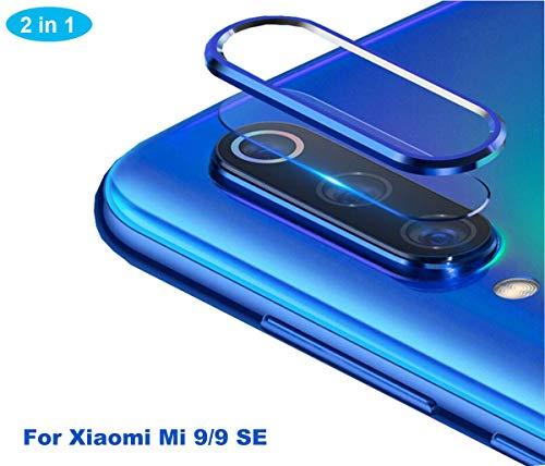 NOKOER Protector de Lente de Cámara para Xiaomi Mi 9 SE, [2 en 1] Anillo Protector Metálico para la Cámara + Película Protectora para la Cámara, Lente de la Cámara de Protección de 360 Grados - Azul