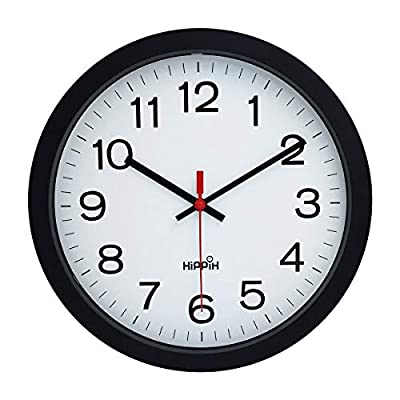 "Yoobure 12"" Silent Quartz Decorative Wall Clock Non-Ticking Digital Plastic Battery Operated Round Easy to Read Home/Office/School Black Clock"