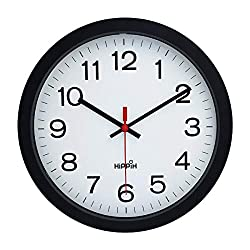 Yoobure 12 Silent Quartz Decorative Wall Clock Non-Ticking Digital Plastic Battery Operated Round Easy to Read Home/Office/School Black Clock