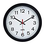 12' Silent Quartz Decorative Wall Clock Non-Ticking Digital Plastic Battery Operated Round Easy to Read Home/Office/School Black Clock