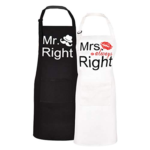 Sevenstars 2 Pack 100% Cotton Couple Cooking Aprons with Pockets, Mr. Right and Mrs. Always Right Kitchen Aprons Adjustable Baking Aprons for Wedding Men Women