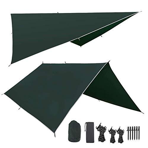 Hengda Zeltplane Tarp für Hängematte PU 3000mm Wasserdicht mit Ösen + 6 Erdnägel+ 8 Seilen, Regenschutz Sonnenschutz für Ourdoor Camping (3m x 3m)
