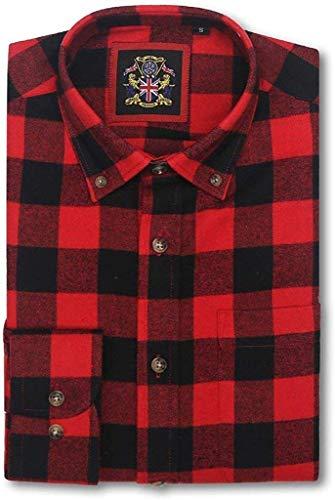 Camisa de Manga Larga Janeo British Apparel, para Hombre leñador a Cuadros Buffalo Check, Mezcla de algodón Cepillado Ligero, Brawny Tartan Estilo. Botón Abajo del Cuello