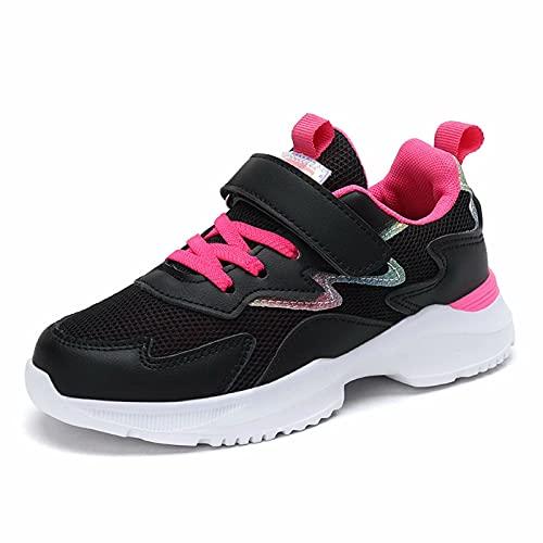 Kinder Turnschuhe Mädchen Sportschuh Sneakes Sport Kinderschuhe Atmungsaktiv Hallenschuhe mit Kettverschluss Draußen Girls Schuhe Glitter(EU 29, Schwarz)