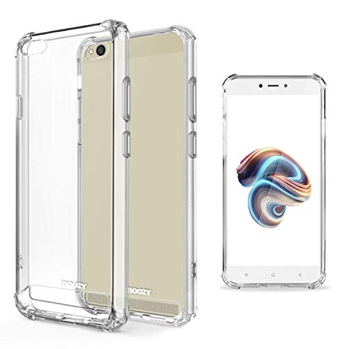 Moozy Funda Silicona Antigolpes para Xiaomi Redmi 5A - Transparente Crystal Clear TPU Case Cover Flexible