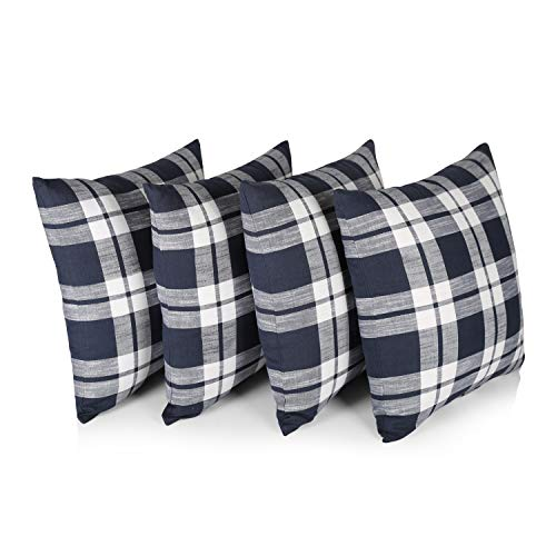 """Penguin Home 100% Cotton Decorative Double Sided Square Cushion Covers with Invisible Zipper 45cm x 45cm x 18"""" (Set of 4, Navy/White Check), 45 X45 X1 cm"""
