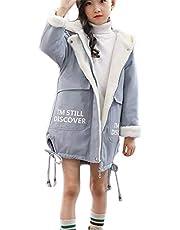 (ジャンーウェ)秋冬 ロングコート 裏ボアコート フード付き キッズ 女の子 子供服 ジュニア 厚手 アウター プリント 可愛い あったか かっこいい