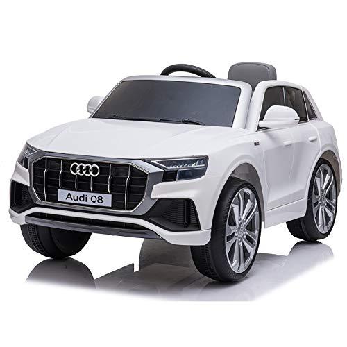 ATAA Audi Q8 batería 12v y Mando - Blanco - Coche eléctrico para niños Audi batería 12v