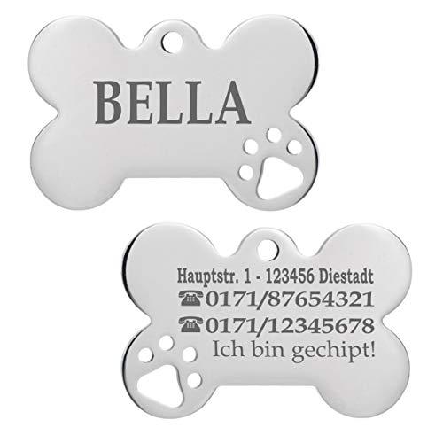 Iberiagifts - Hundemarke Knochen mit Pfoten aus Edelstahl mit Gravur für mittelgroße bis große Hunde und Katzen - Plakette graviert und personalisiert (Mit 1 Pfote)