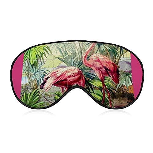 Masque pour les yeux, masque de sommeil profilé 3D bloquant la lumière, masque de sommeil en peluche, masque de voyage pour homme et femme, art déco flamants roses