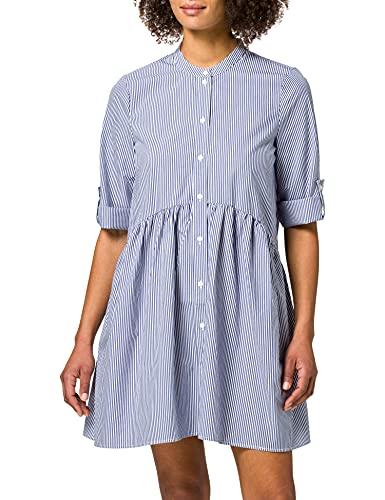 Only ONLCHICAGO 3/4 SL S Life DNM Dress QYT Vestido, Blanco/Rayas: Azul, XL para Mujer