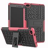 LMFULM® Hülle für Lenovo Tab E7 TB-7104F (7,0 Zoll) PU 3 in 1 Hybrid Heavy Duty Stoßfest Anti-Rutsch-Schutzhülle Weiche Silikon Rückseite für Lenovo Tab E7 Rose Rot