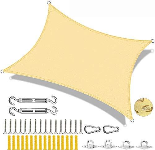 MMJJQQ Wasserdicht Sonnensegel Sonnenschutz Garten Rechteck UV-Schutz Wetterbeständig Segel Für Garten, Balkon, Terrasse,YellowB-4x6m
