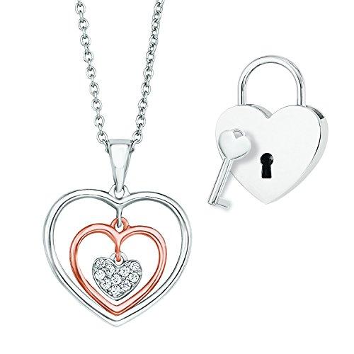 s.Oliver Damen-Schmuckset Valentinstag-Special Halsschmuck + Liebesschloss 925 Silber teilvergoldet Zirkonia weiß-567503