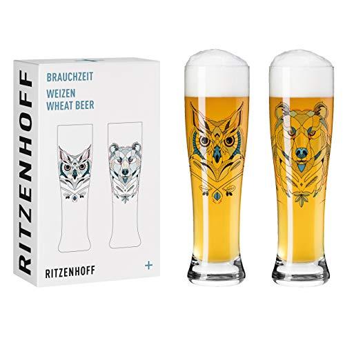 RITZENHOFF Brauchzeit #1 Juego de vasos de cerveza de trigo, Cristal