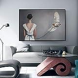 HGlSG Cartel Femenino Moderno en Vestido Blanco Lienzo póster ng Imagen de Arte de Pared única para decoración Simple de Sala de Estar Dormitorio cafetería60x90cm(Sin Marco)