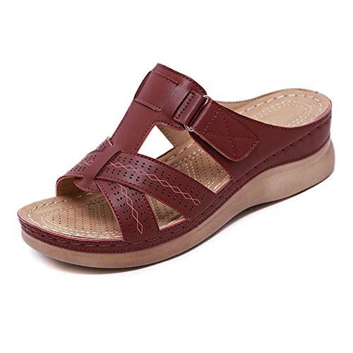 SZBLYY Sandalias Mujeres Sandalias Cuña Verano Ortopédico Sandalias de Punta Abierta Vintage Antideslizante Casual Plataforma Femenina Zapatos de Cuero (Color : Win Red, Shoe Size : 39)
