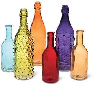 Colored Bottle Tree Bottles for Outdoor Garden Decor, Set of 6