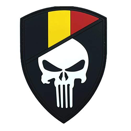 Belgien Flagge Punisher Im Dunkeln Leuchten Cosplay Airsoft PVC Klett Emblem Abzeichen Patch