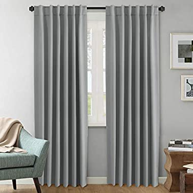 H.VERSAILTEX (Set of 2) Blackout Room Darkening Curtains Window Treatment Grey Panels - Rod Pocket Blackout Curtains for Living Room, W52 x L84