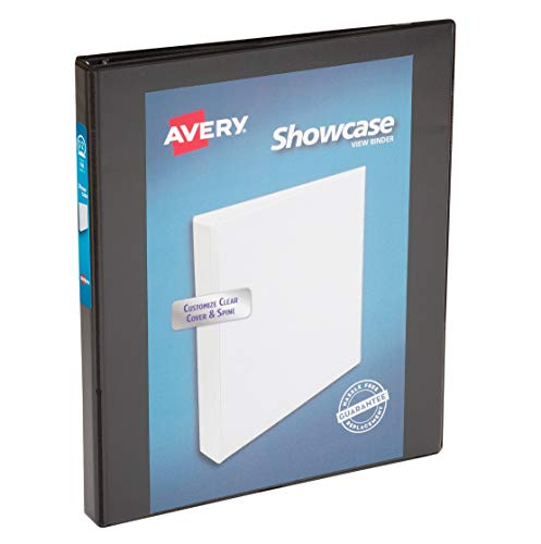 "Avery Economy Showcase View 3 Ring Binder, 0.5"" Round Rings, 1 Black Binder (19550)"