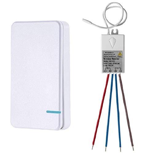 Thinkbee Kit De Interruptor De Luces Inalámbricas, Interruptor Inalámbrico + Receptor de Relevo Control Remoto, MINI impermeable conmutadores de Luz de Pared para lámpara de interior/exterior- 1 Clave