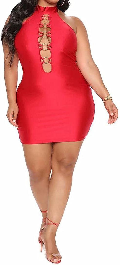 IyMoo Women's Sexy Plus Size Bodycon Sleeveless Drawstring Ruched Mini Club Dresses