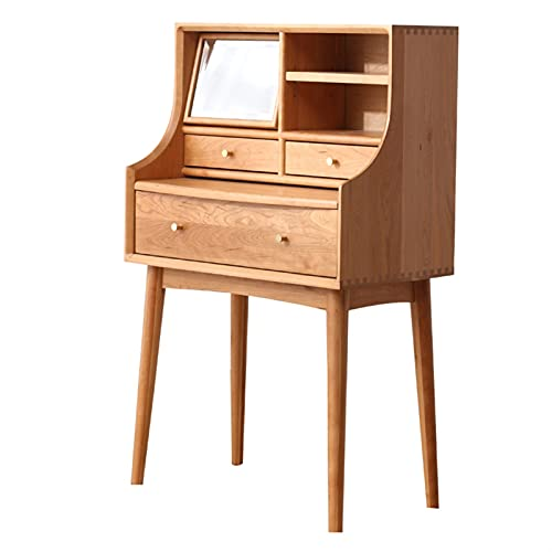 WEIDA Dressing Table, Small Apartment Dressing Table, Cherry Wood Nordic Bedroom Furniture, with Three Drawers