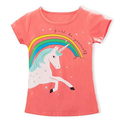 TTYAOVO Camiseta de Algodón Unicornio para Niñas, Camiseta de Manga Corta para Niños Camiseta de Impresión Unicornio Lindo Tamaño 3-4 Años Rosa